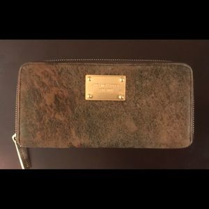 Michael Kors ladies brown suede wallet withgold
